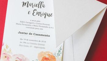 Convite para jantar de casamento